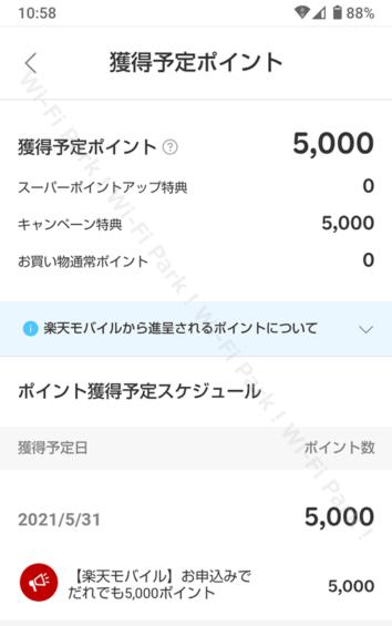楽天ポイント 5,000円分