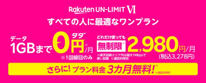 Rakuten UN-LIMIT Ⅵ プラン料金3カ月無料キャンペーン